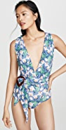 PatBO Floral Plunge Belted One Piece