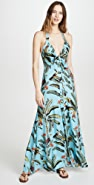PatBO 热带风情印花高领长连衣裙