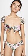 PatBO Tropical Print Cap Sleeve Bikini Top