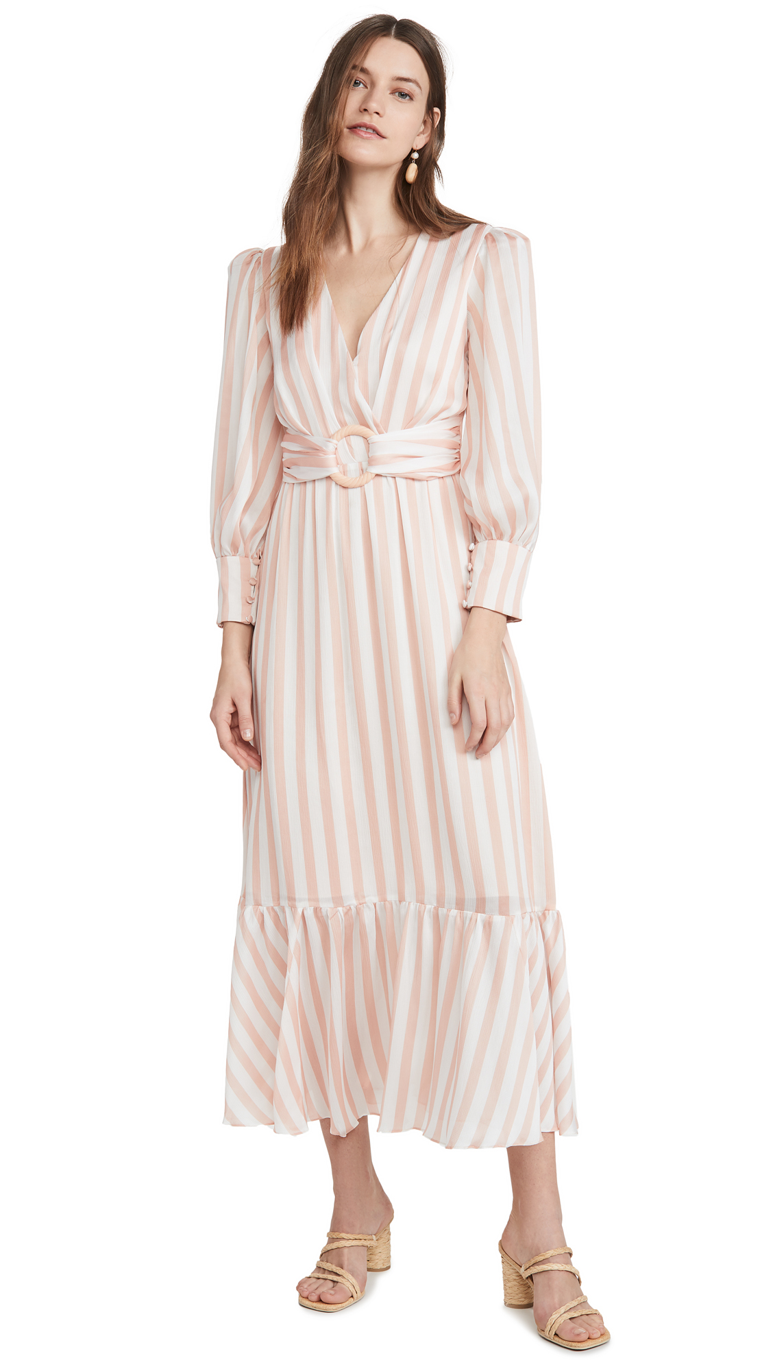 PatBO Cabana Stripe Belted Midi Dress