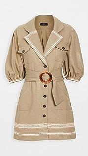 PatBO Belted Linen Mini Dress