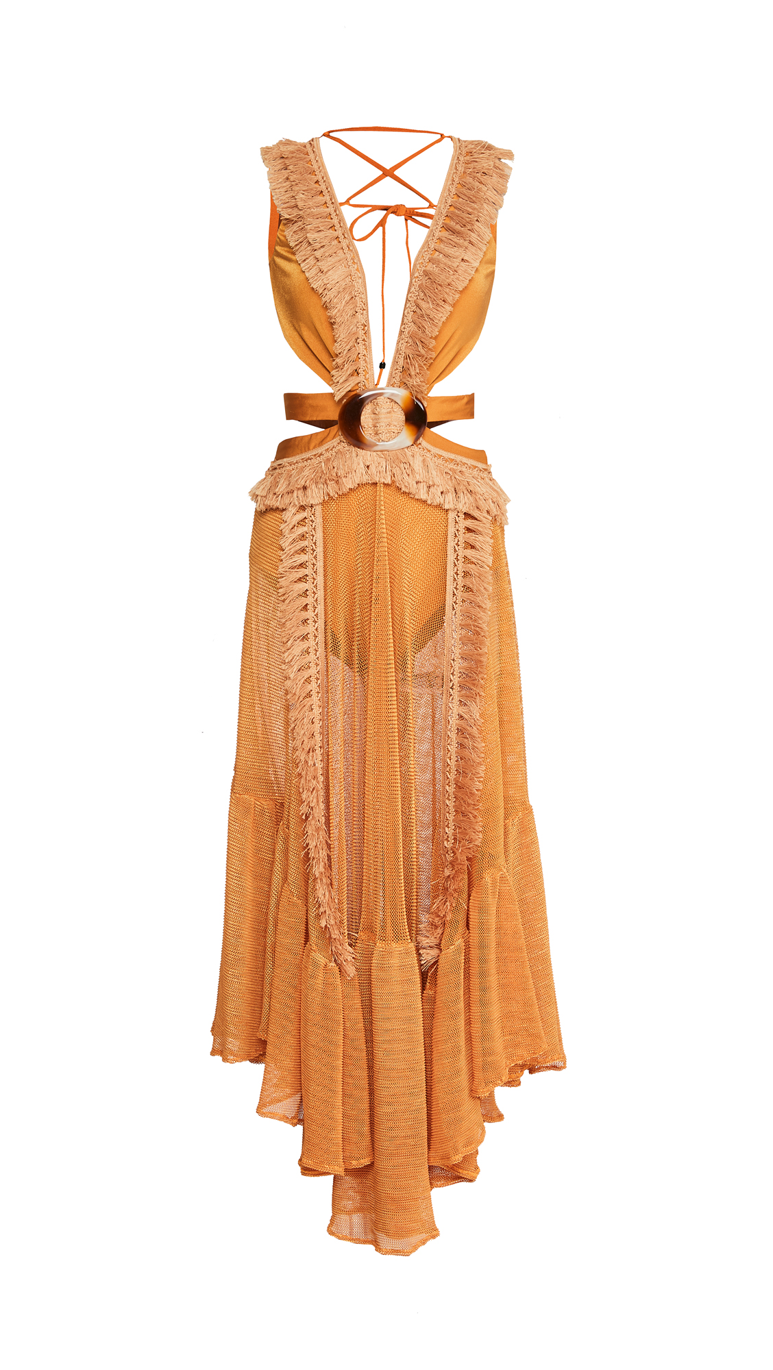 PatBO Netted Fringe Beach Dress