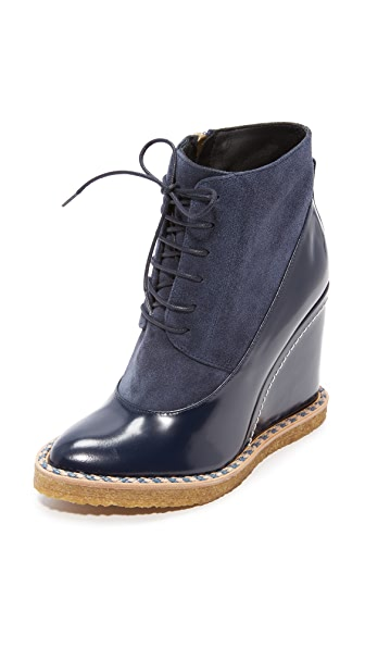 Paloma Barcelo Aspen Wedge Booties In Navy