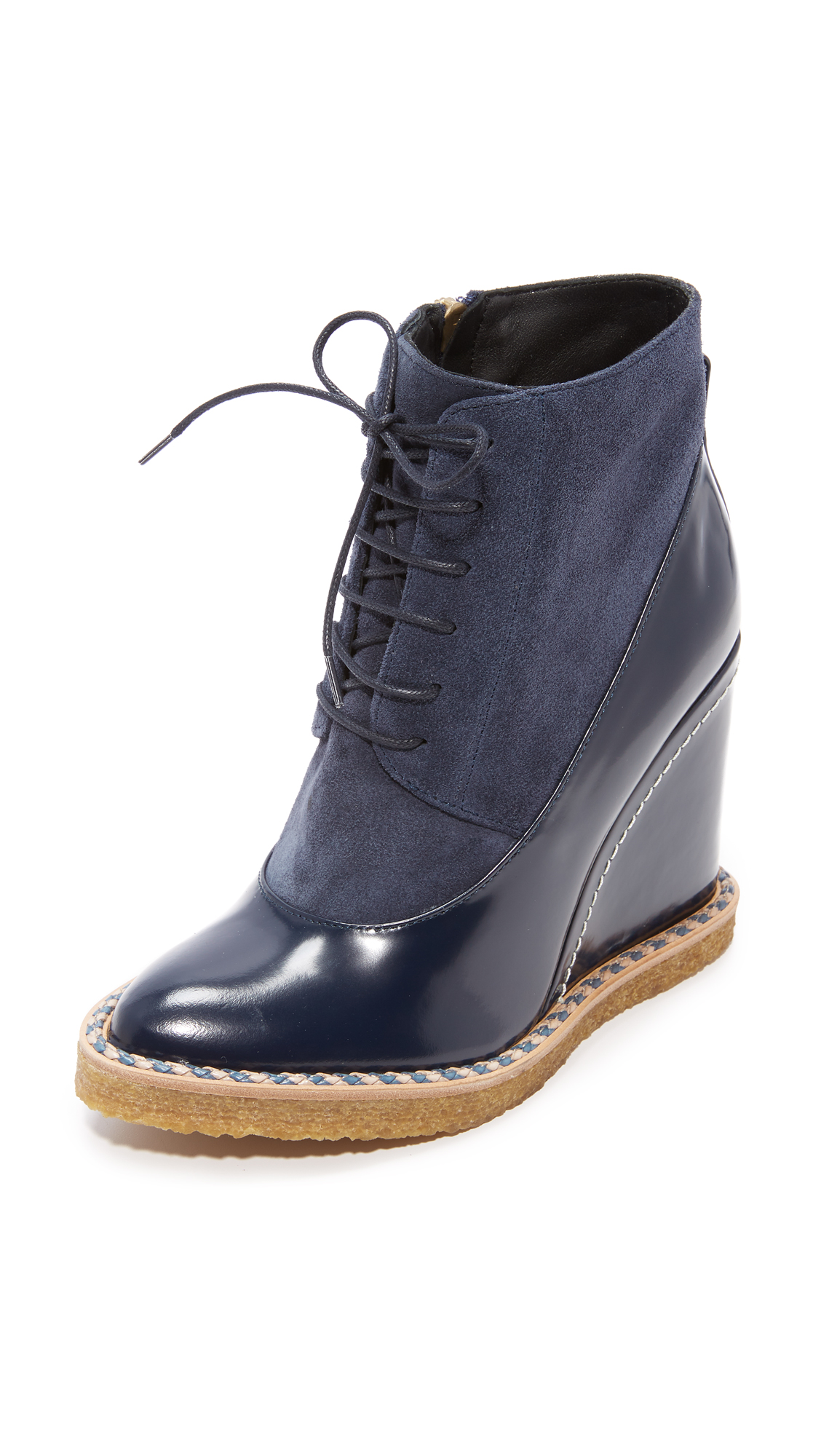 Paloma Barcelo Aspen Wedge Booties - Navy