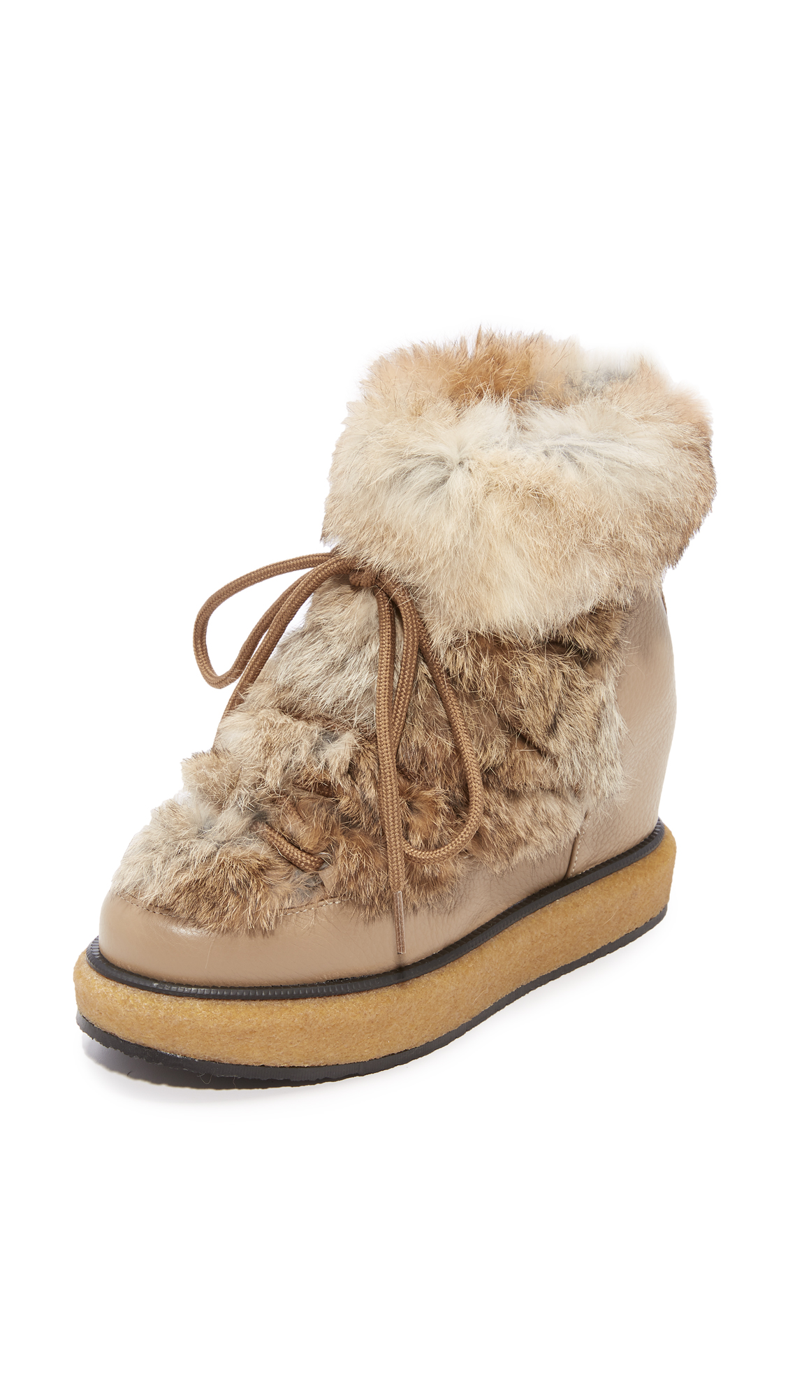 Paloma Barcelo Kansas Fur Wedge Booties - Beige