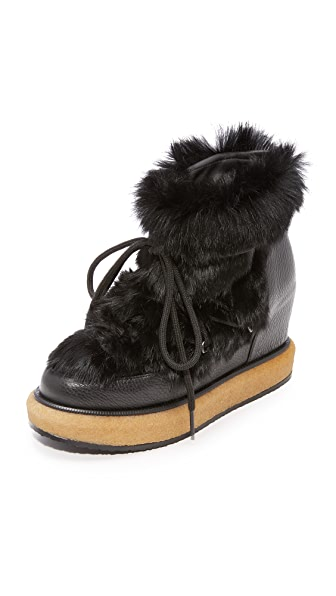 Paloma Barcelo Kansas Fur Wedge Booties In Black