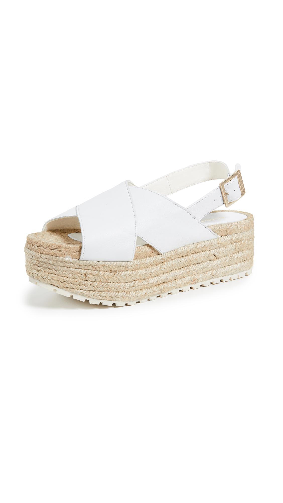 Paloma Barcelo Guaria Flatform Espadrille Sandals - White