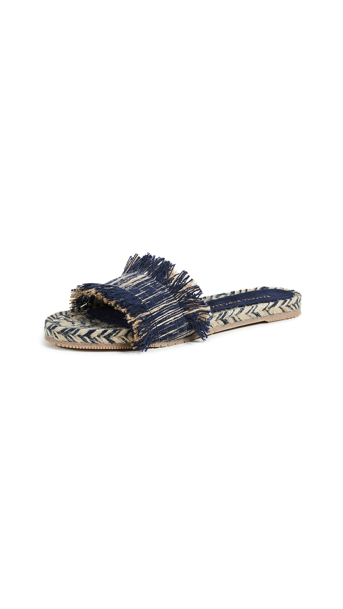 Paloma Barcelo Aqracejo Fringe Slides - Light Blue