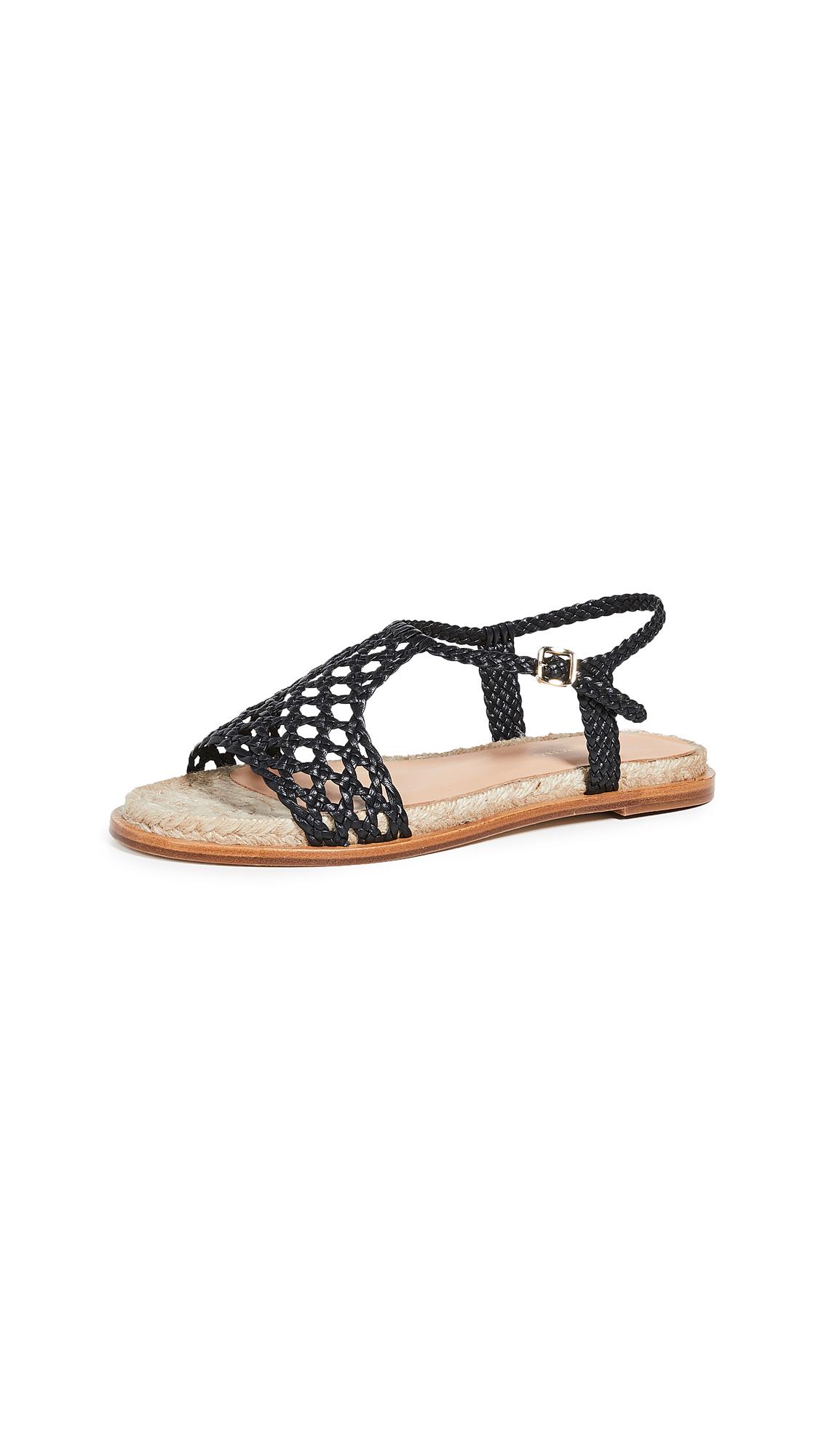Paloma Barcelo Sandrine Woven Flat Sandals - Black