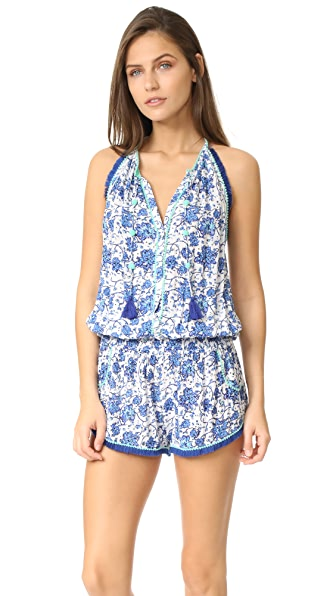Poupette St Barth Lola Romper In Blue Poppy