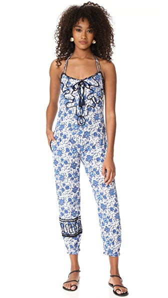Poupette St Barth Lola Long Jumpsuit - Blue Poppy
