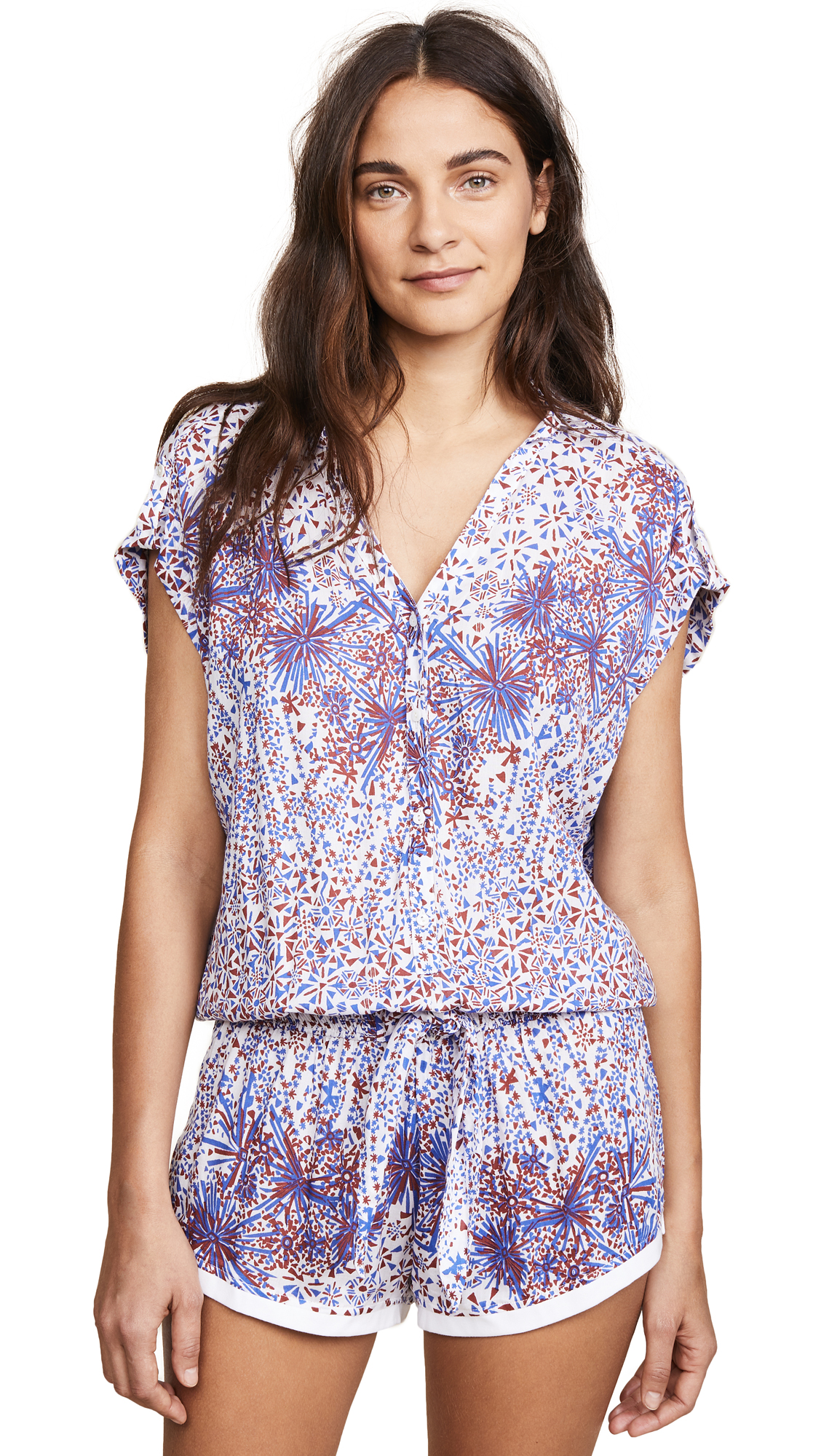 aa905adcd0 Poupette St Barth Aba Short Jumpsuit In White Brown