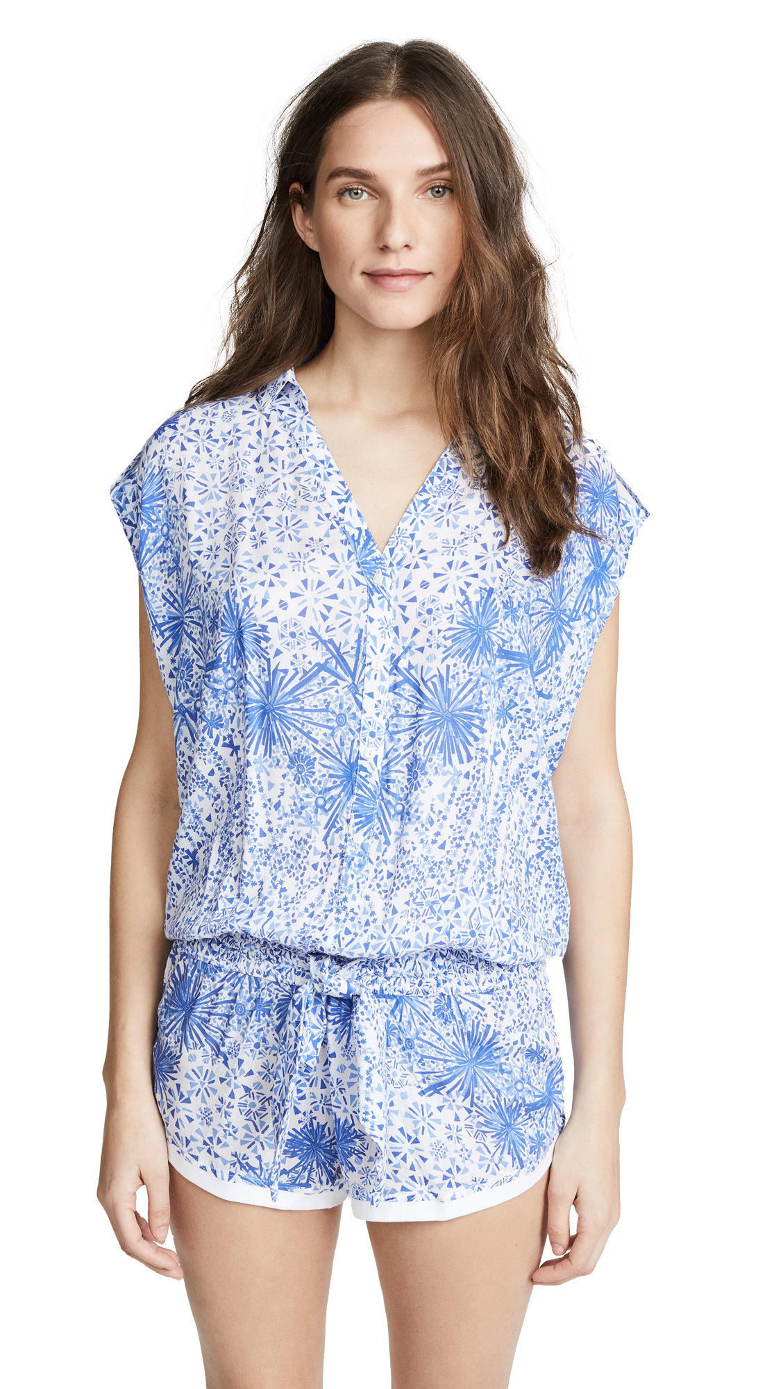 Poupette St Barth Aba Short Jumpsuit In White Blue