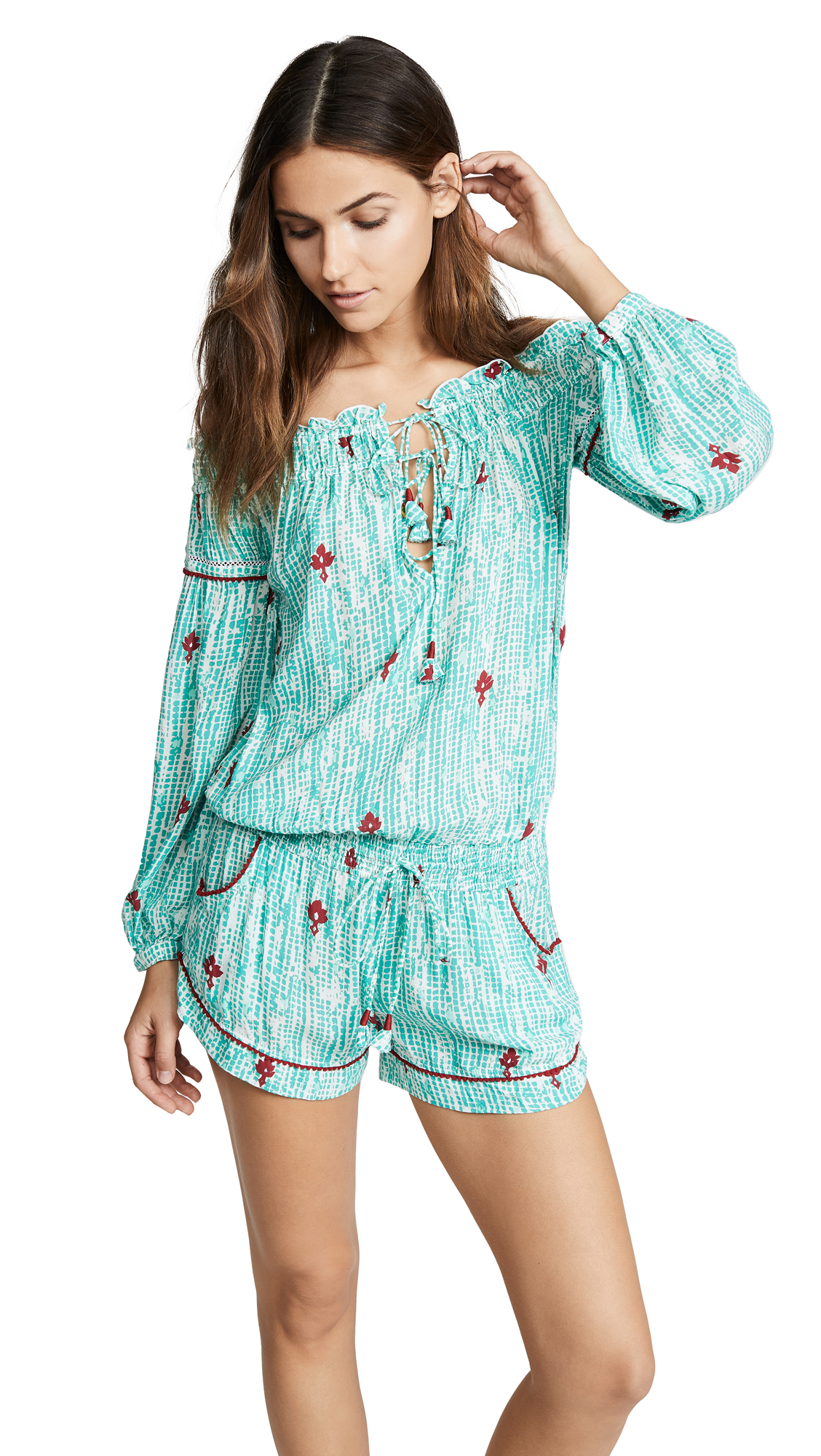 POUPETTE ST BARTH Poupette T Barth Clara Romper Aqua/Red in Aqua Fanciful
