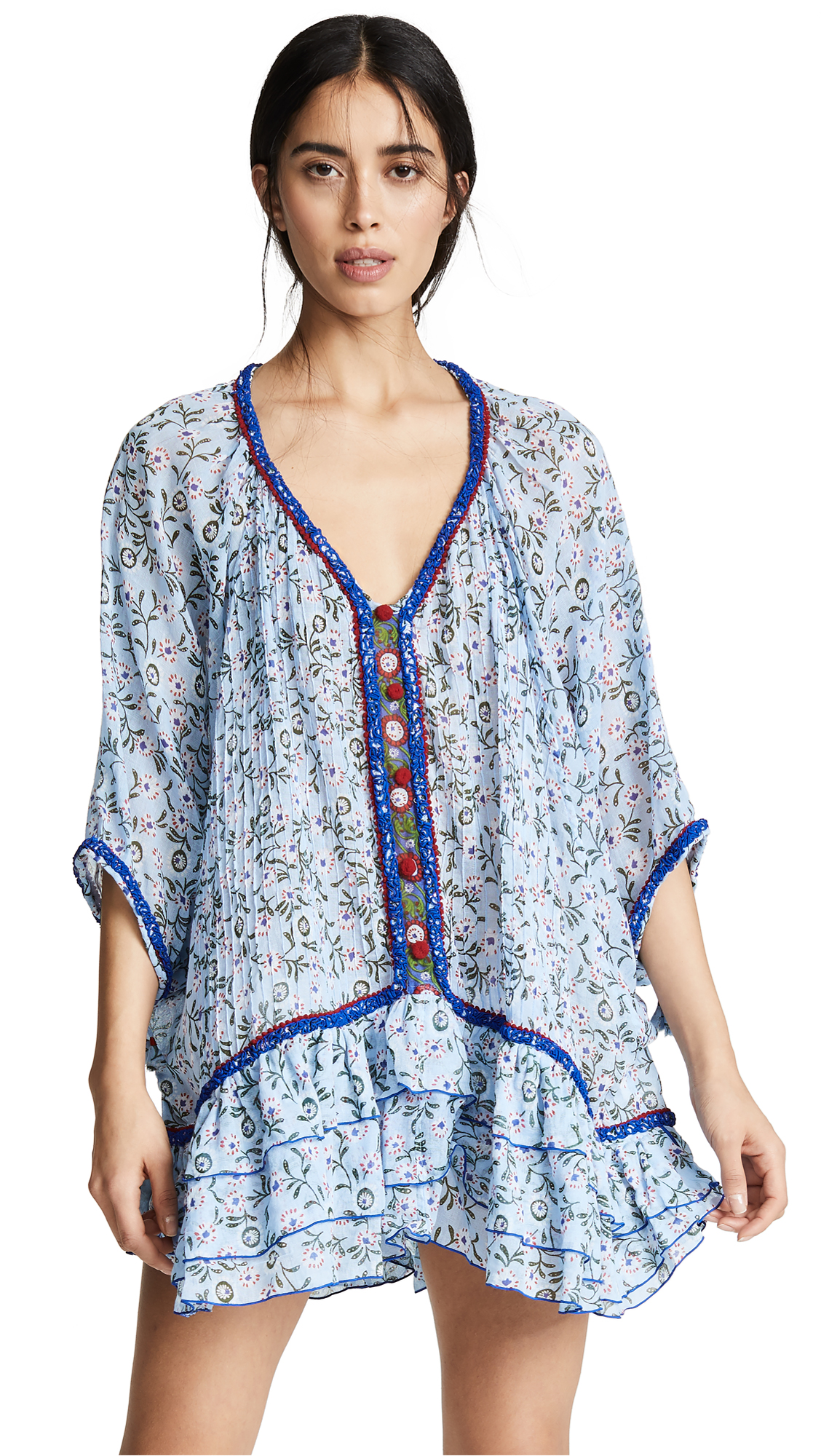 POUPETTE ST BARTH Bobo Ruffled Dress Poncho in Blue