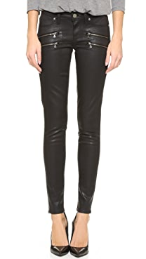 PAIGE Edgemont Ultra Skinny Black Silk Wash w/Zips