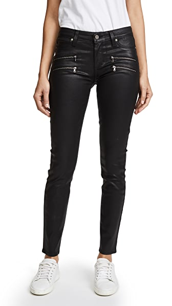 PAIGE Edgemont Ultra Skinny Black Silk Wash w/Zips In Black Silk