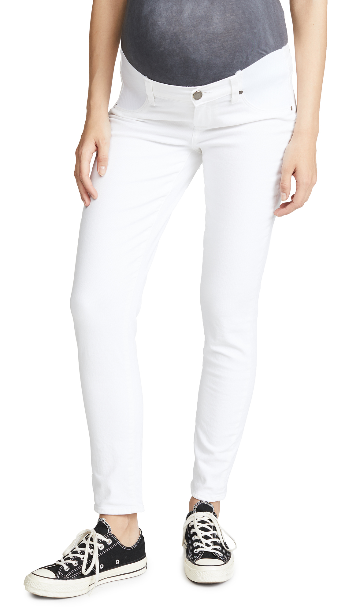 PAIGE Skyline Ankle Peg Maternity Jeans - Optic White