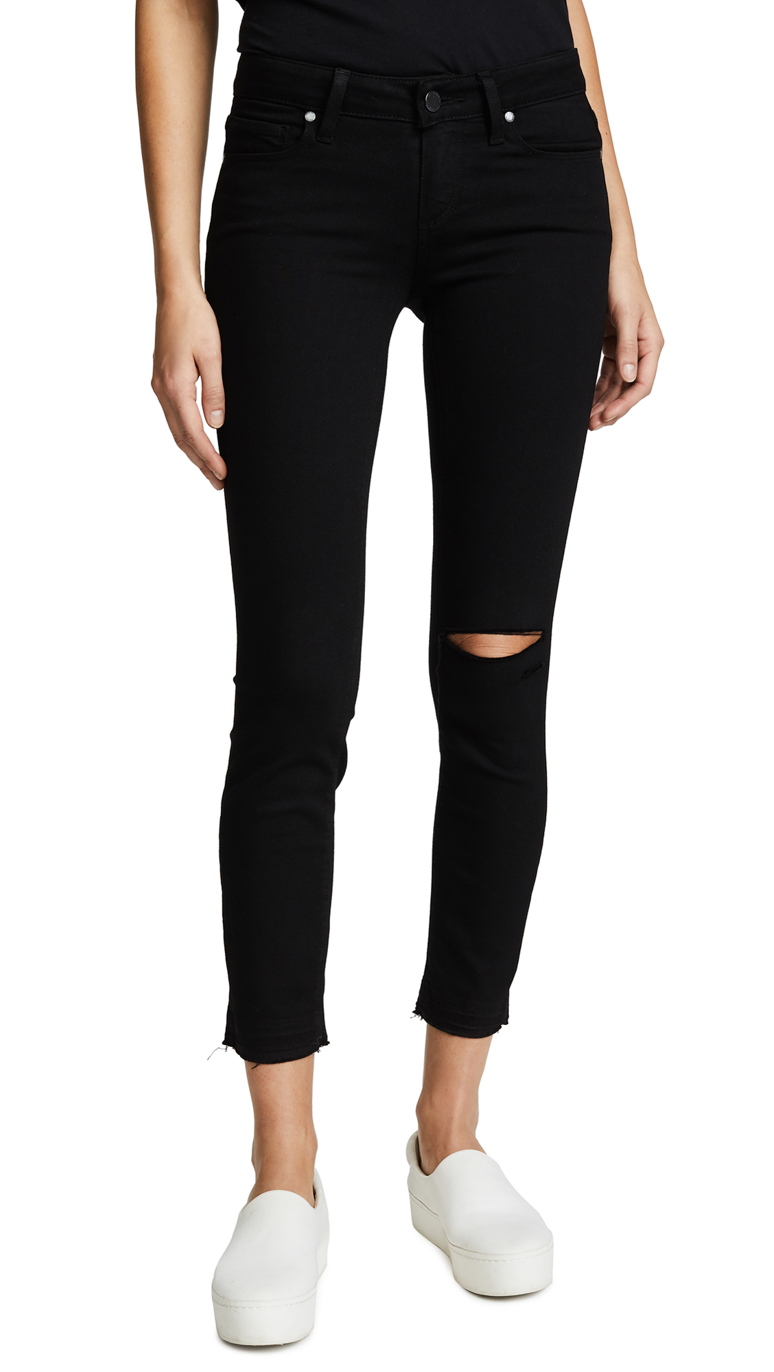 PAIGE Verdugo Crop Skinny Jeans In Jett Black Destructed