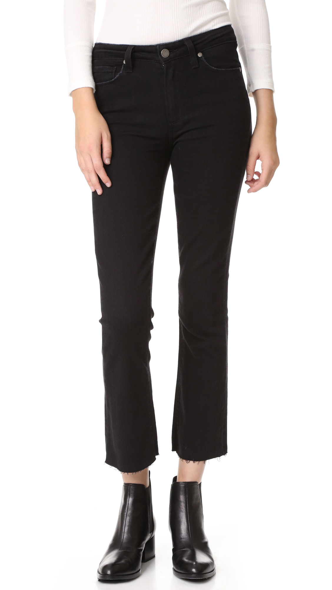 paige denim female paige collette crop flare jeans vintage black