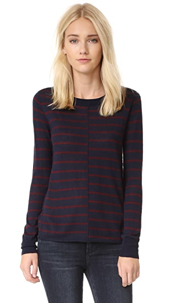Paige Allie Stripe Sweater - Midnight With Bordeaux Stripe