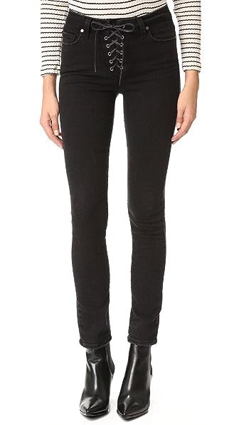 PAIGE Hoxton Ankle Peg Lace Up Jeans