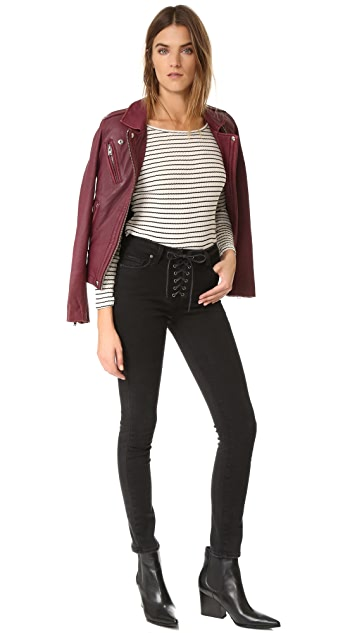 PAIGE Hoxton Ankle Peg Lace Up Jeans