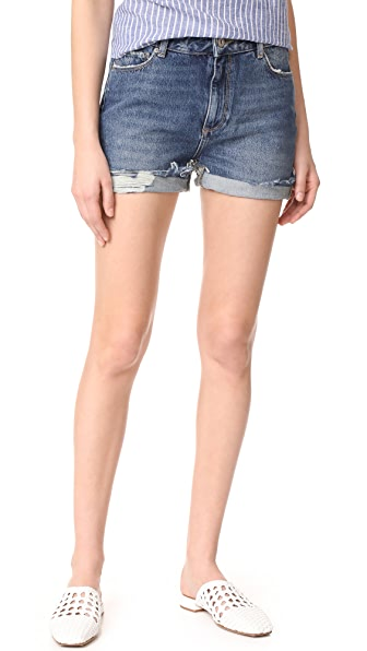 PAIGE Sarah Shorts In Rosedale Distressed