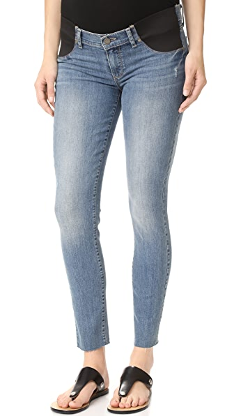 PAIGE Maternity Verdugo Ankle Jeans with Raw Hem In Big Sur