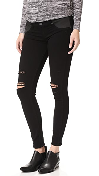 PAIGE Maternity Verdugo Ultra Skinny Jeans - Black Shadow Destructed