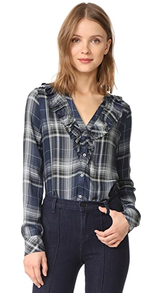 PAIGE Bernette Shirt In India Ink/Dylan Plaid