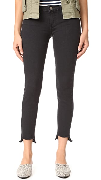 PAIGE Verdugo Ankle Jeans with Uneven Hem In Vintage Black