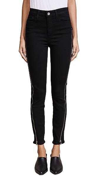 PAIGE Transcend Margot Ankle Zipper Jeans In Black Shadow