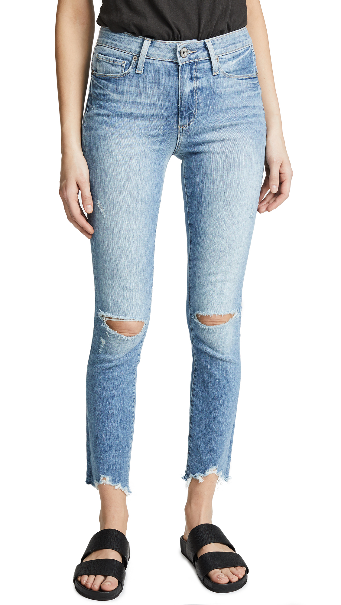PAIGE Hoxton Ankle Peg Skinny Jeans In Janis Destructed