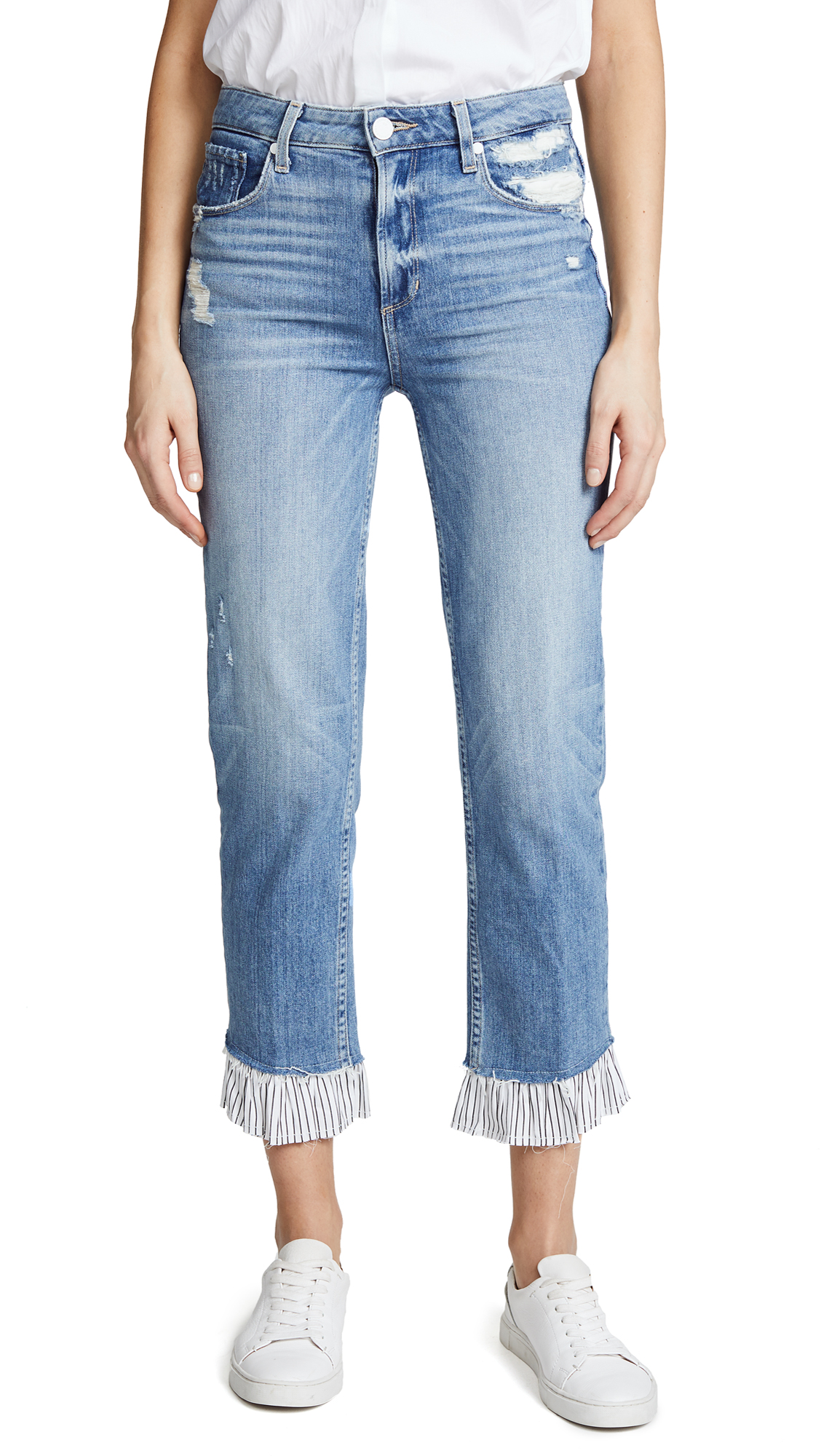 PAIGE Sarah High Rise Jeans with Ruffled Hem In Belfast