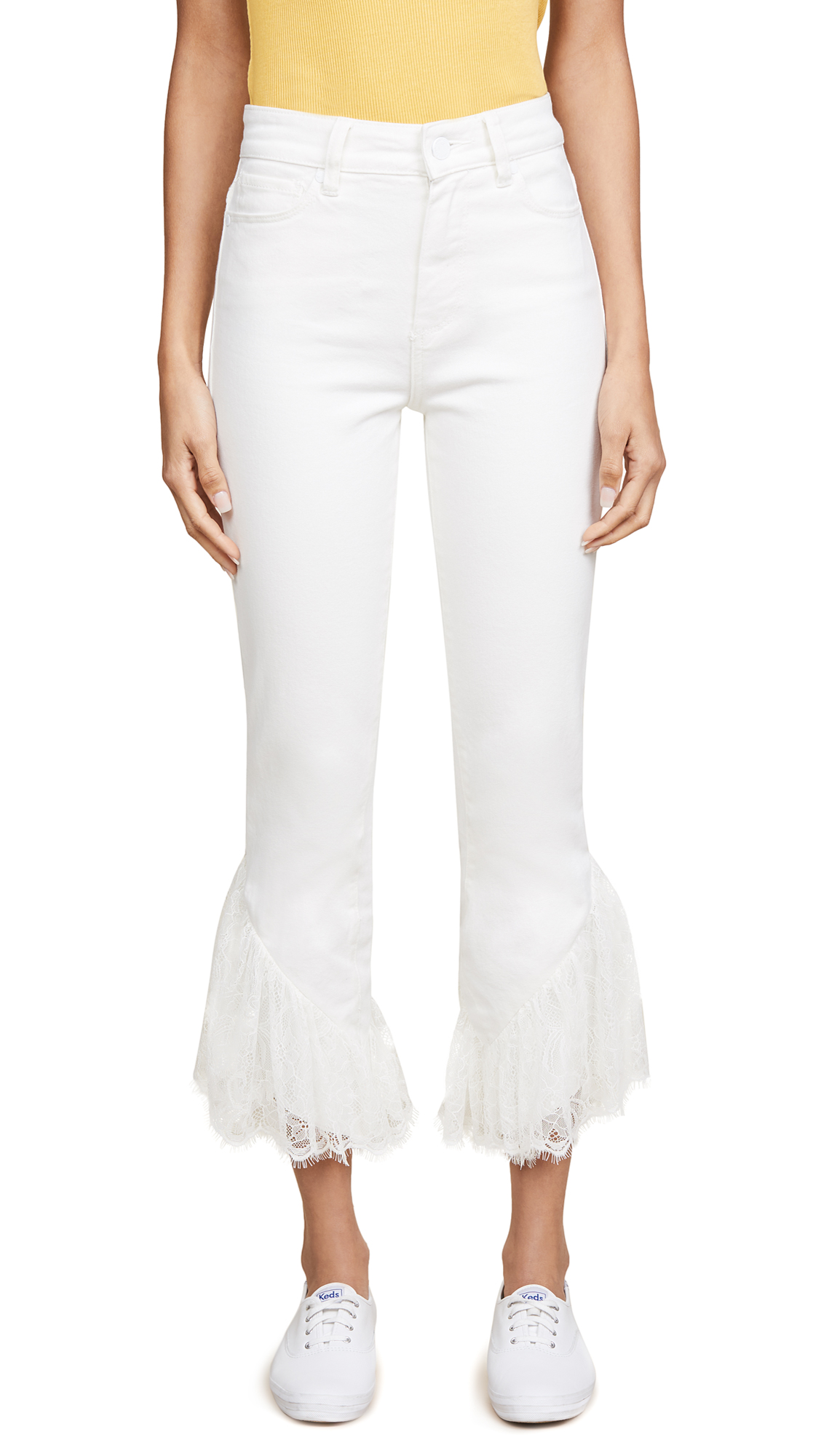 "PAIGE Hoxton Straight Ankle with Lace 27 Jeans"" In Poodle White"