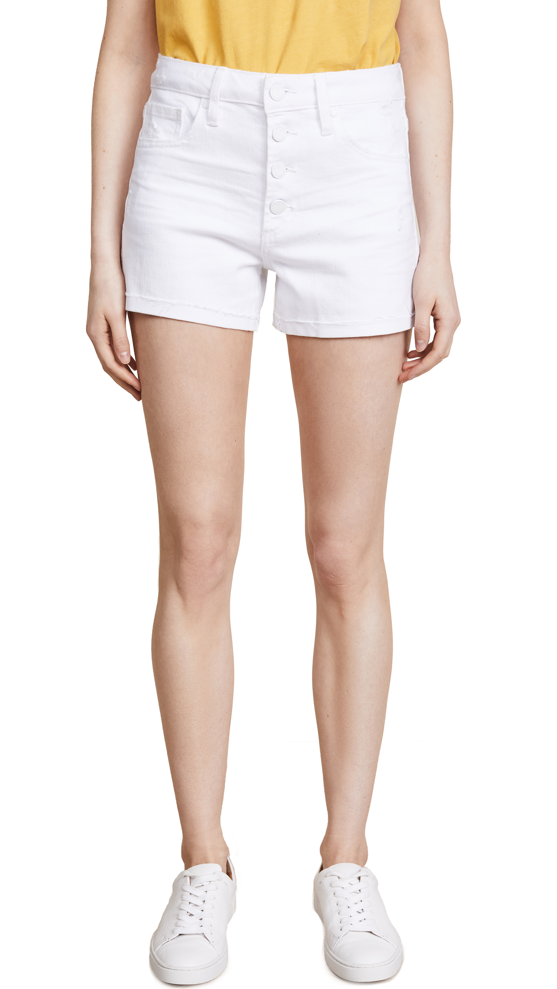PAIGE High Rise Sarah Shorts with Exposed Buttons In Lived In Crisp White
