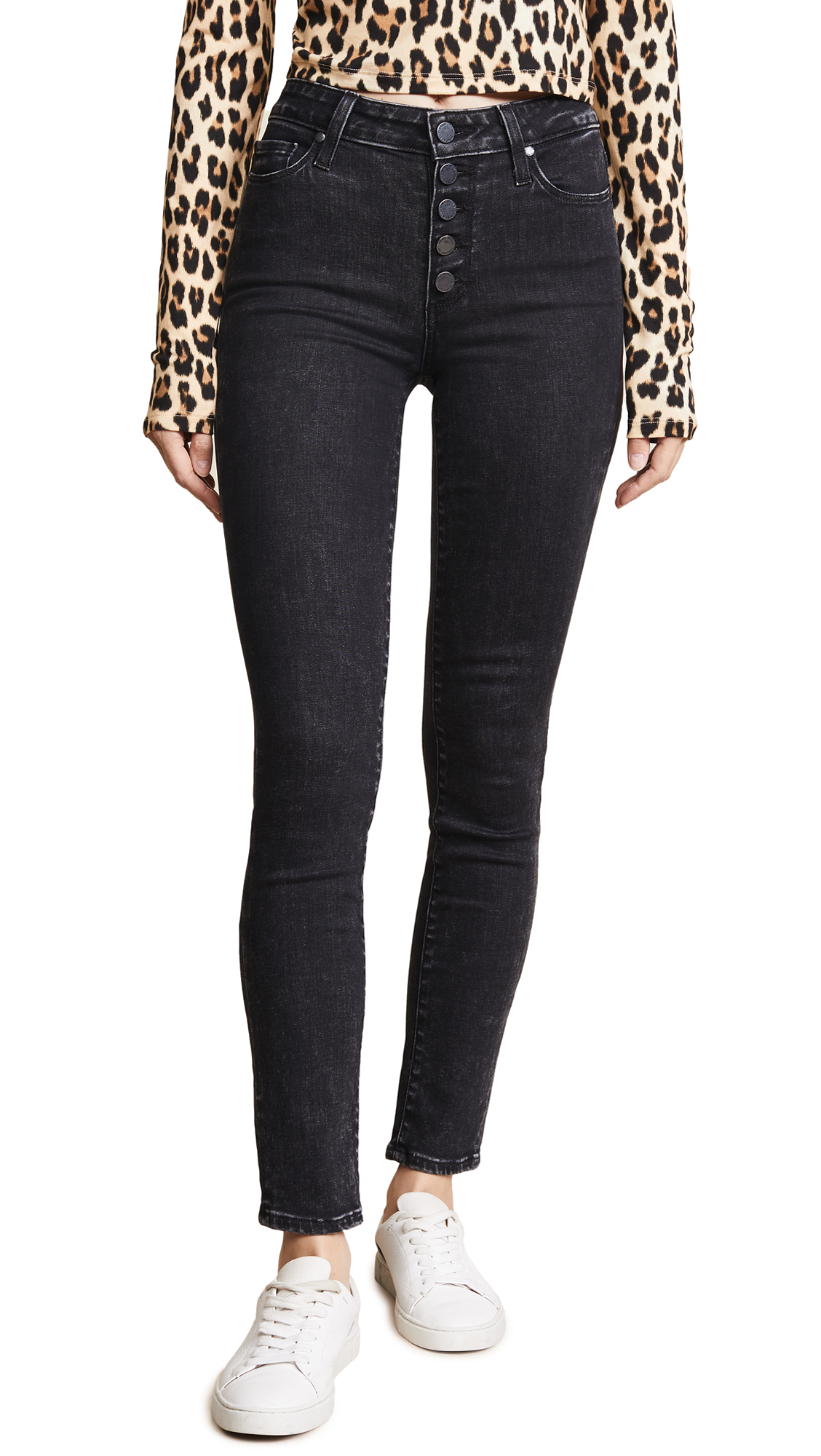 PAIGE HOXTON ANKLE PEG EXPOSED BUTTON FLY JEANS