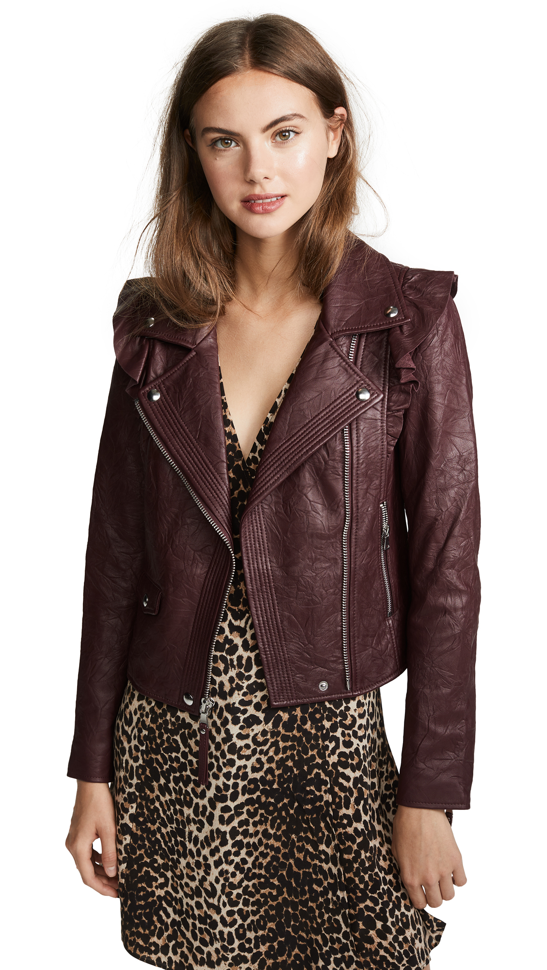 PAIGE Annika Leather Jacket In Dark Currant