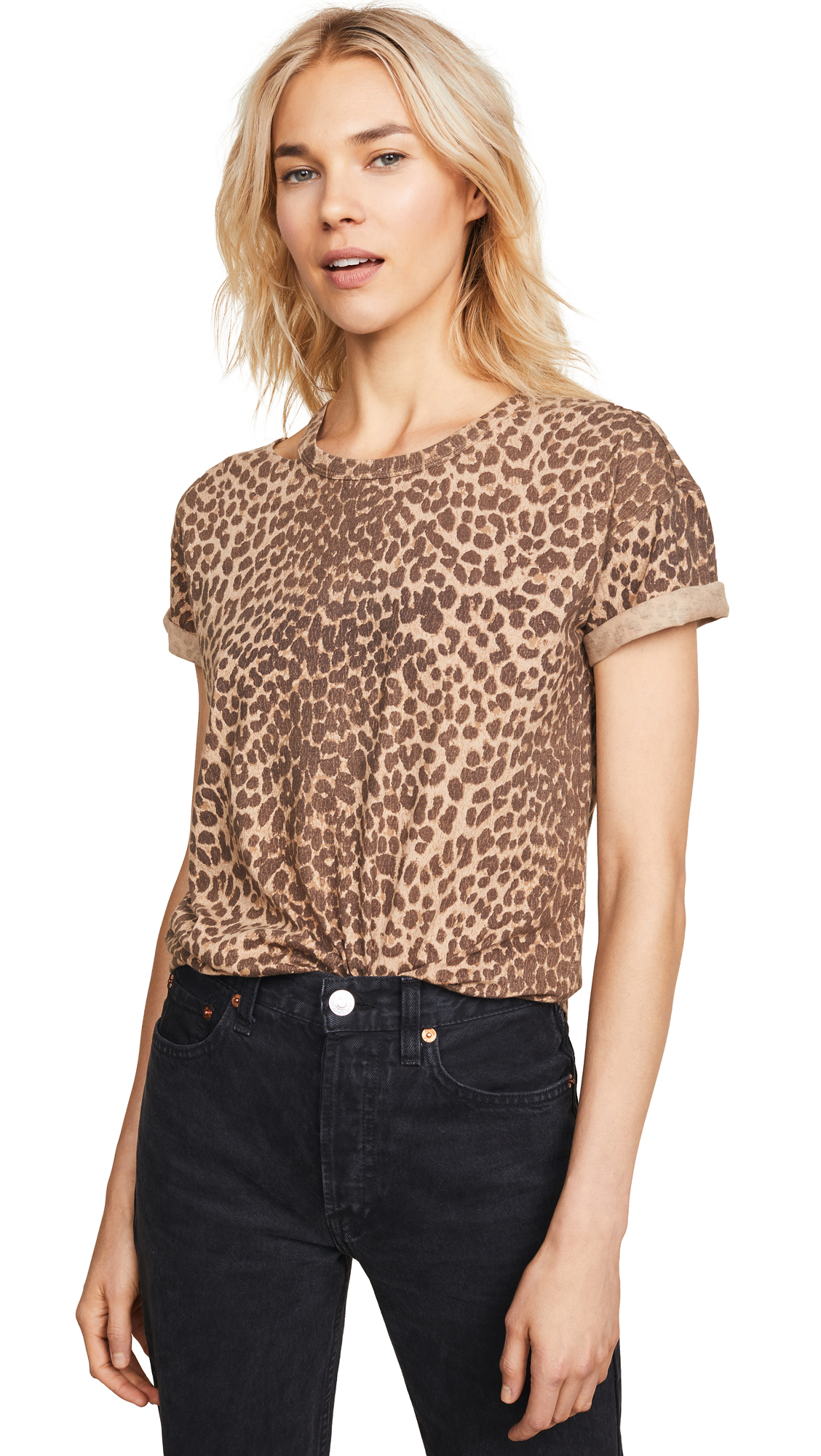 PAIGE Shanni Cutout Tee In Natural Leopard
