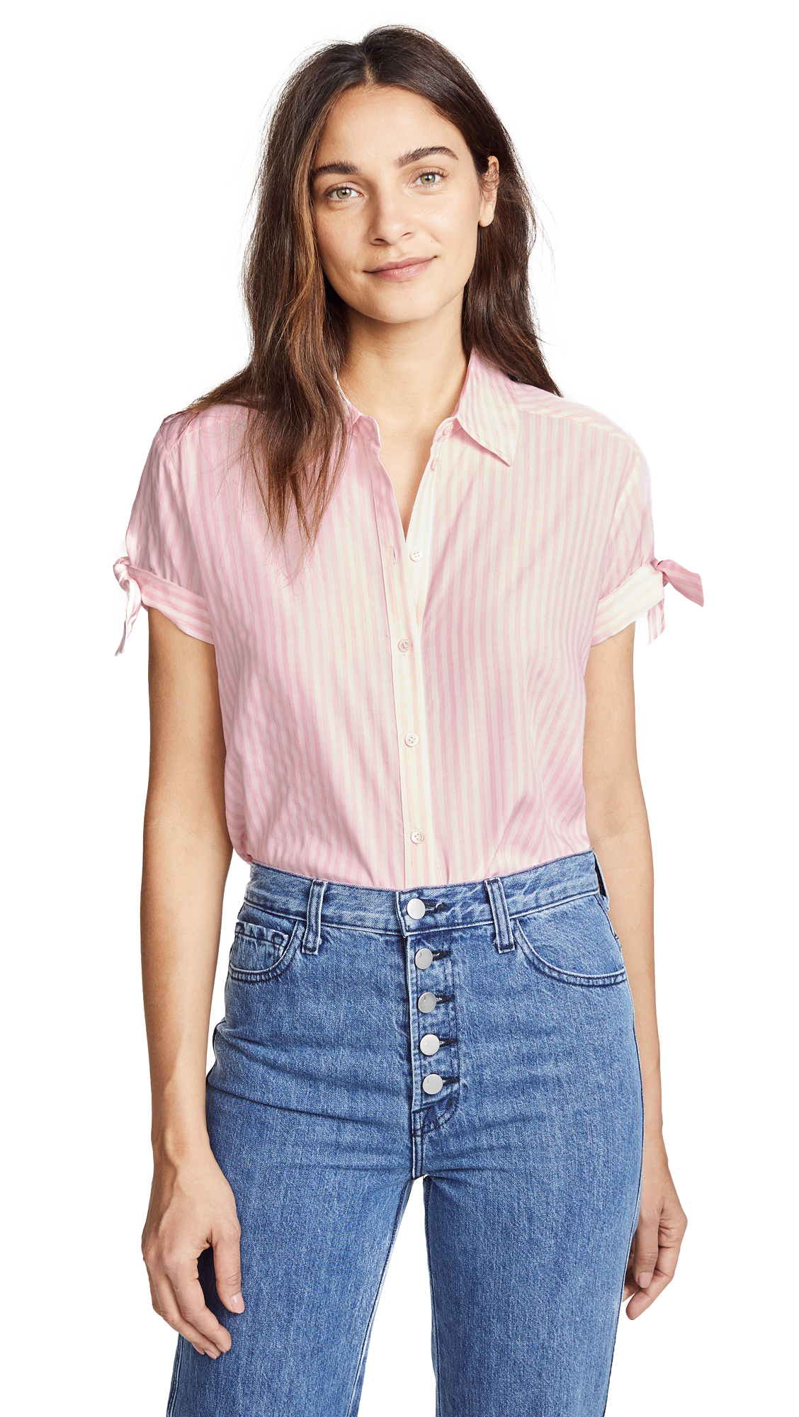 PAIGE Avery Top In Pink/White Stripe