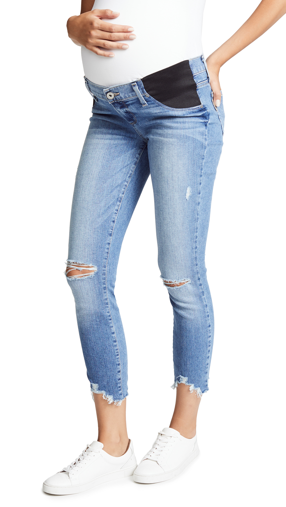 PAIGE Verdugo Maternity Crop Jeans In Janis Destructed