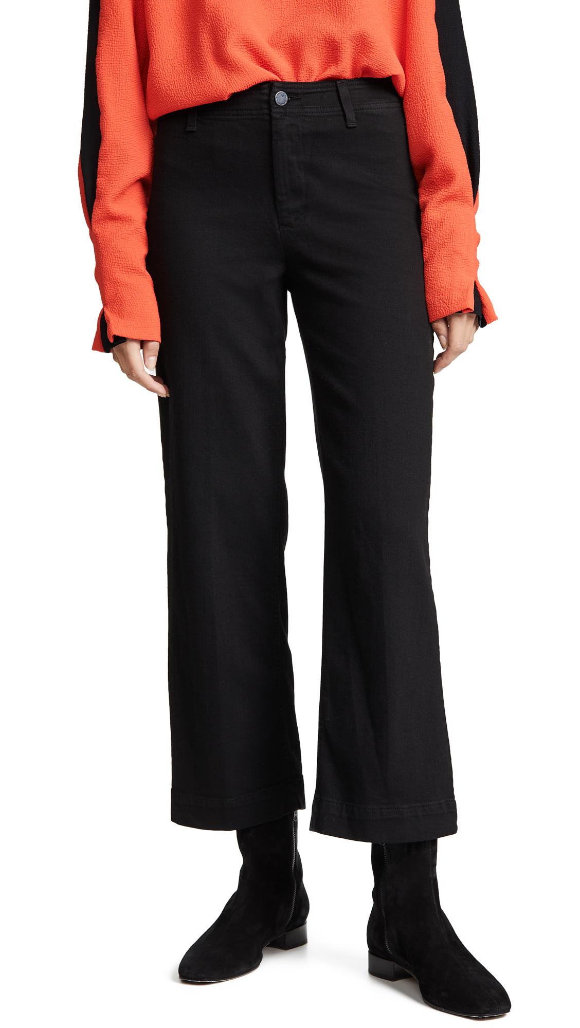 PAIGE Nellie Clean Culotte Jeans In Black Overdye