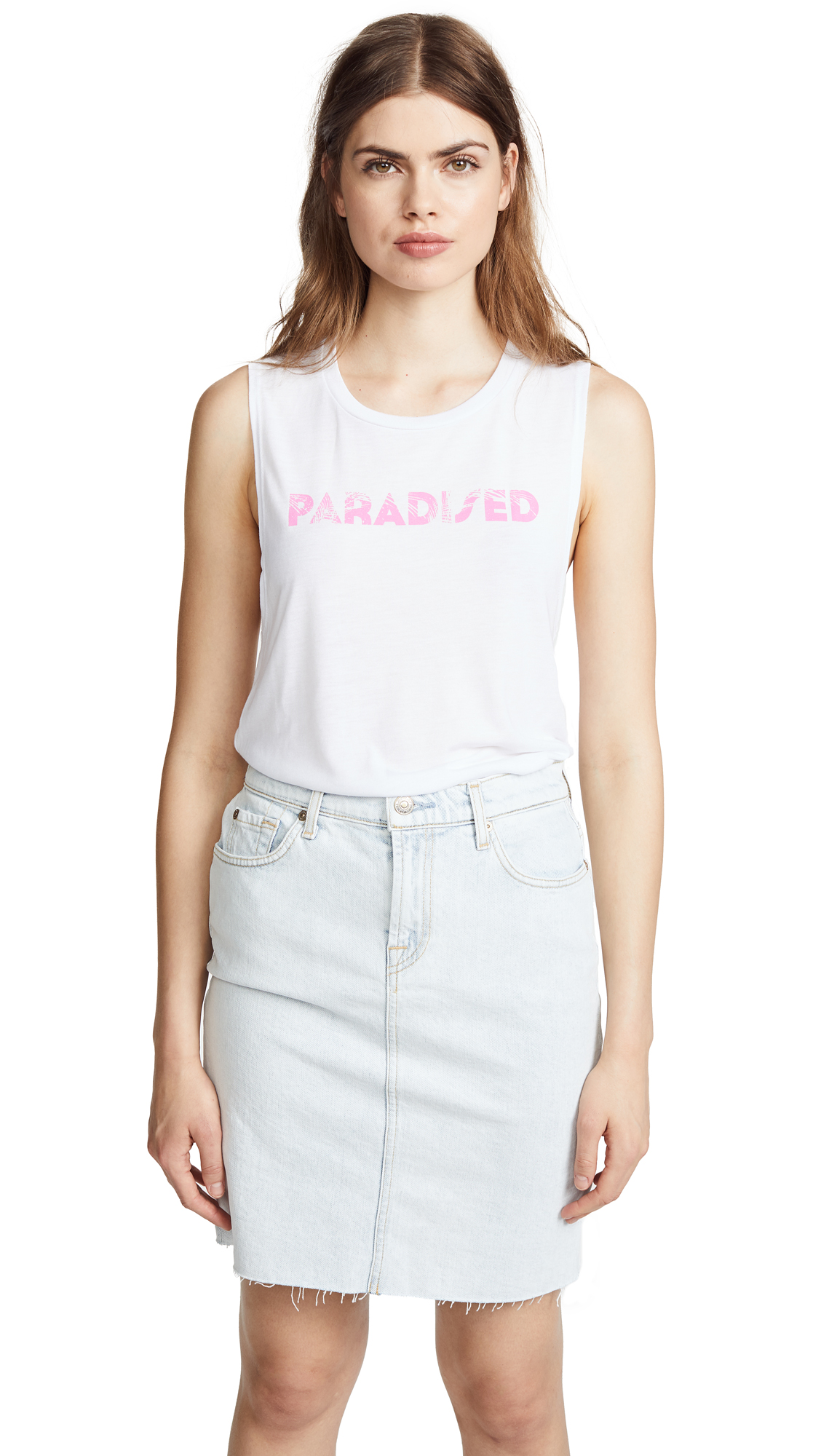 PARADISED Palm Tank Top in White/Pink