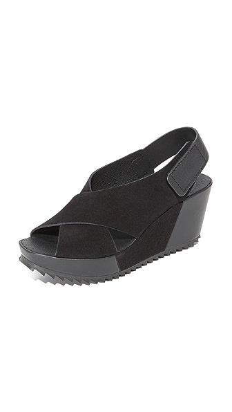 Pedro Garcia Freya Wedge Sandals - Black