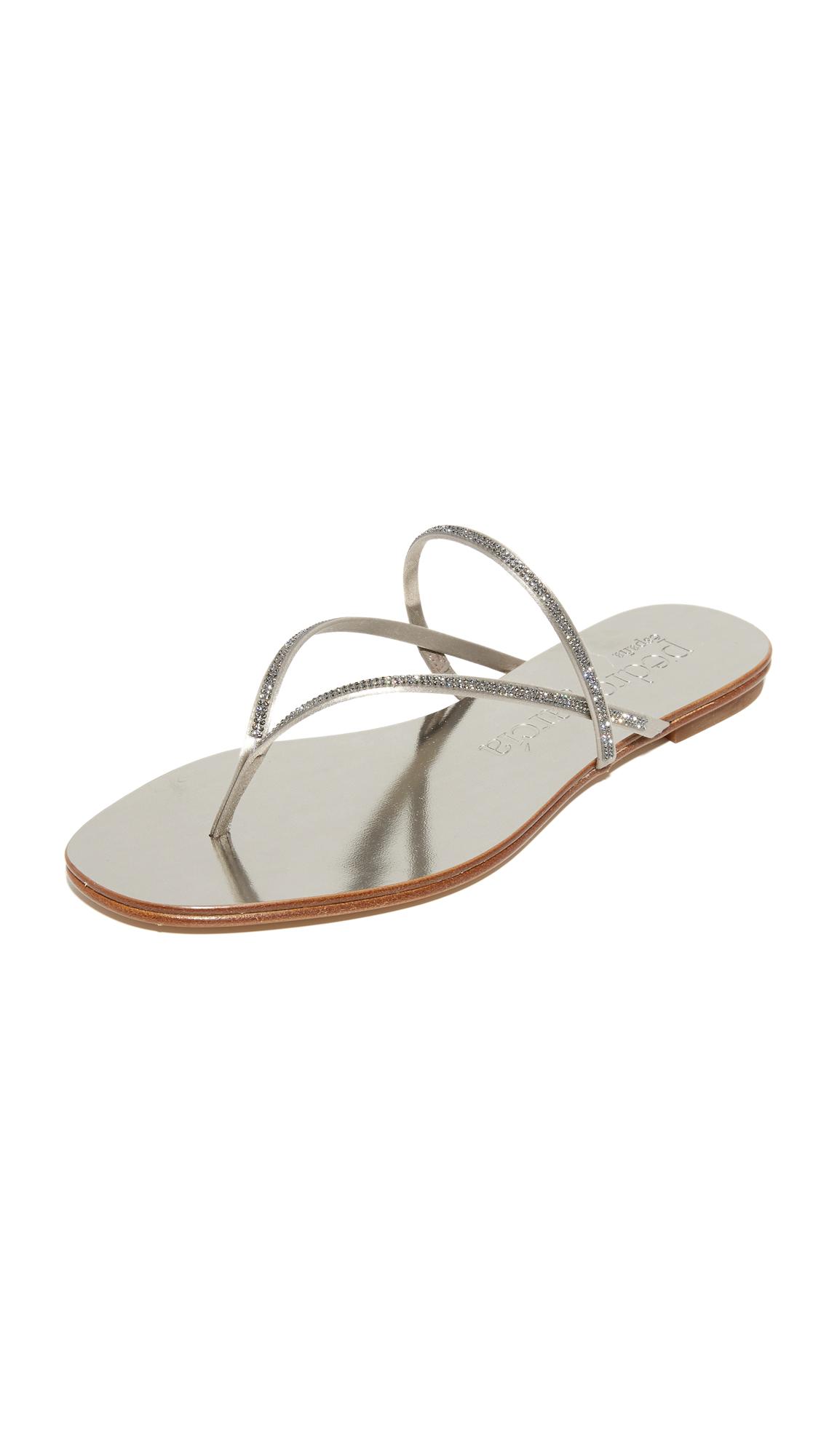 Pedro Garcia Enara Crystal Thong Sandals - Titanium