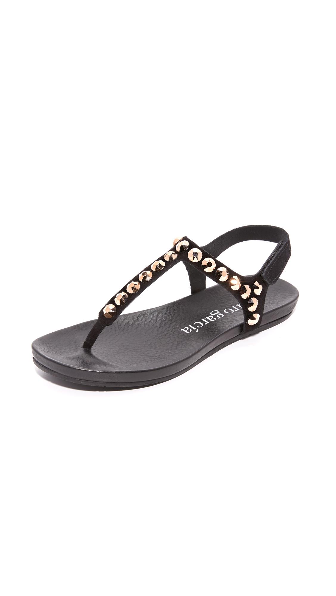 Pedro Garcia Judith Studded Sandals - Black/Rose Gold