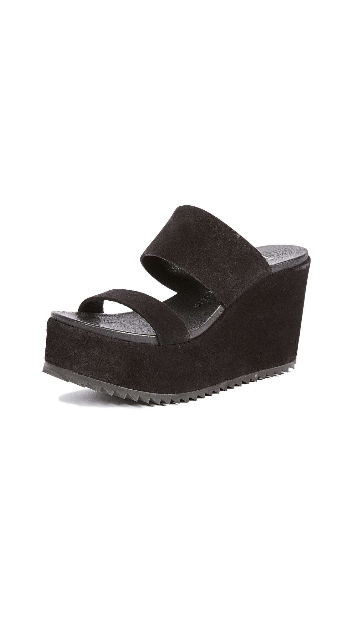 Pedro Garcia Dahl Wedge Slides - Black