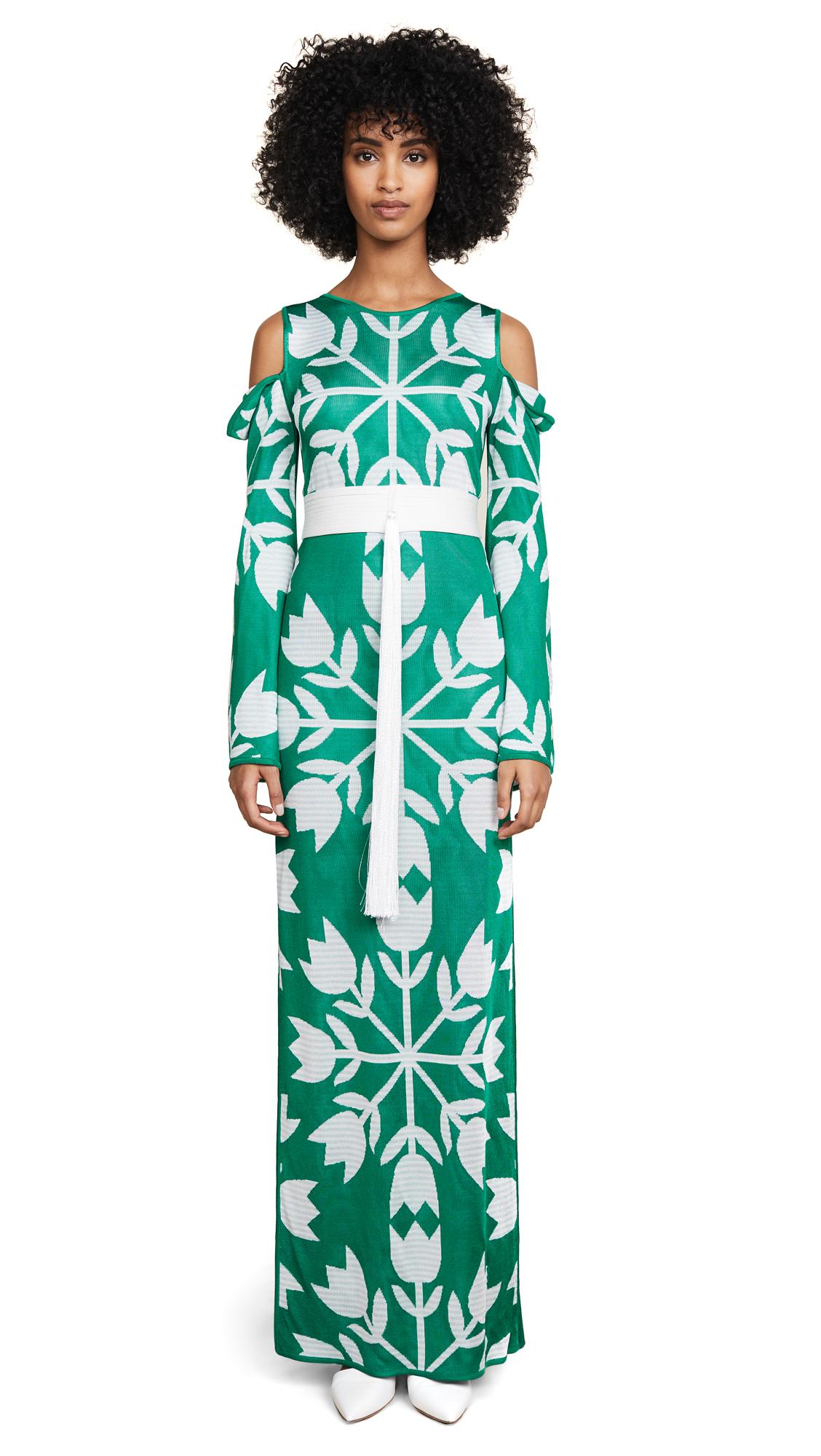 Pepa Pombo Okayama Dress In Verde/Esmeralda/Illusion Blue