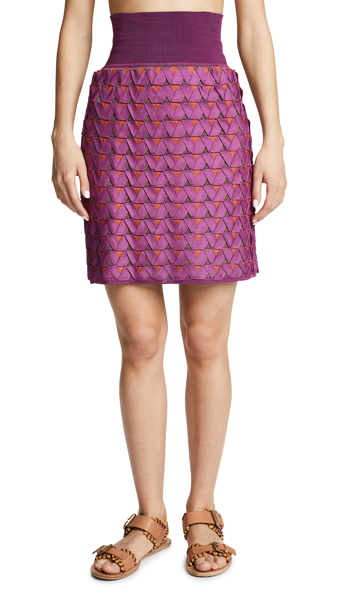 PEPA POMBO Lourdes Skirt in Taupe/Boysenberry/Zapote
